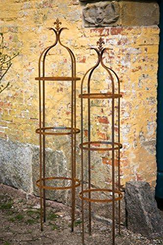 Juego de 2 Estable pérgola metal hierro oxidado. H: 160/195 cm celosía Obelisco: Amazon.es: Jardín