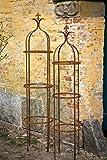 2er Set Stabile Rankhilfe Metall Roheisen/Rost H: 160/195cm Rankgerüst Obelisk