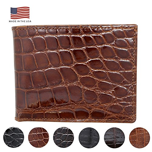 Cognac Glazed Genuine Alligator Bifold Wallet - RFID Blocking - American Factory Direct - Made in USA by Real Leather Creations FBA733 -