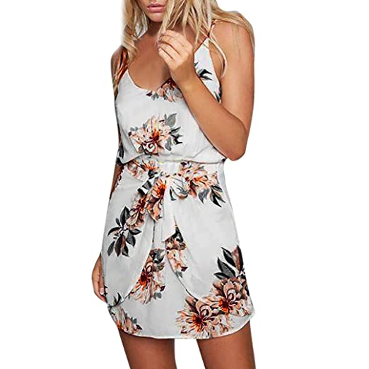 fac113baf289 Kimloog Chiffon Sundress, Womens Ruched Floral V-Neck Halter Beach Mini  Dress Sleeveless Belted