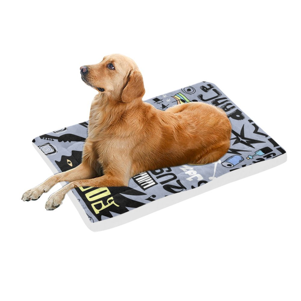 42\ your-fantasia Doodles Rock Funny Music Pet Bed Dog Bed Pet Pad 42 x 26 inches