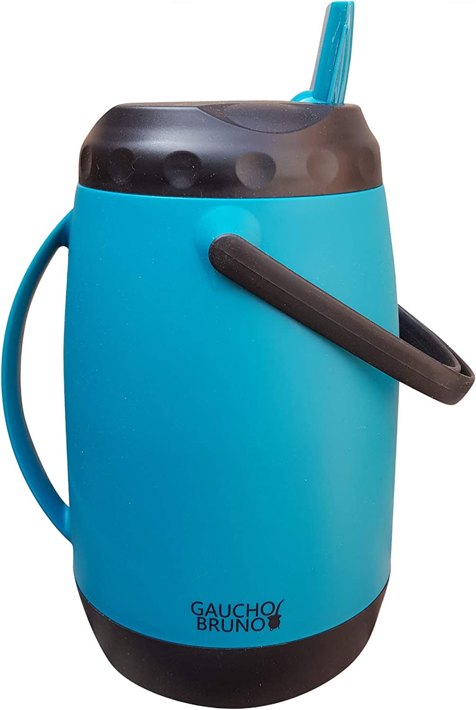Gaucho Bruno - Frasco de vacío grande paraguayo, 2,5 litros, color azul | Doble asa para verter y transportar | Mantiene la temperatura líquida | Ideal para Tereré