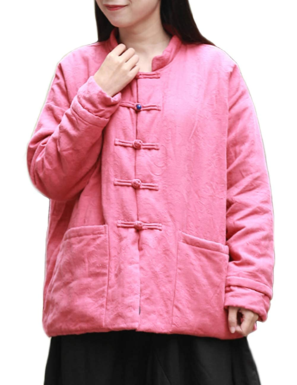 Women Pirate Chinese Tang Lightweight Pink Cotton Linen Quilted Lined Jacket - DeluxeAdultCostumes.com