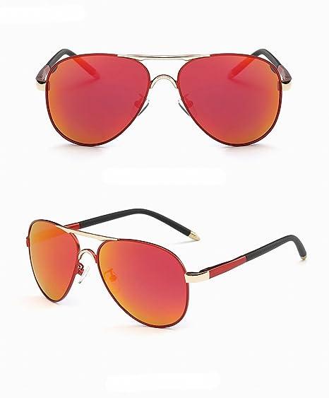herren polarisierte sonnenbrille bunte fahrer Spiegel klassische Große rahmen sonnenbrille 07 Roter rahmen Rote Linse 1NMpBn