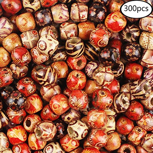 JPSOR 300pcs 12mm Painted Pattern Barrel Beads Wooden Beads Mixed Wood Loose Beads for Jewelry (12 Loose Beads Jewelry)