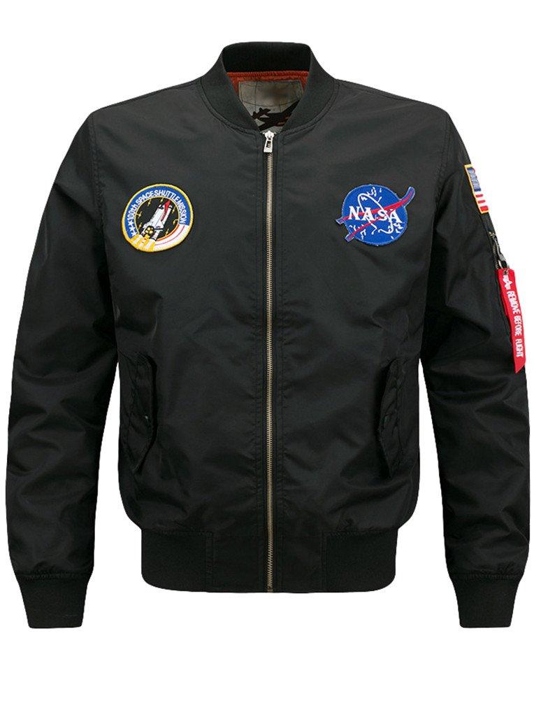 Lavnis Men's Lightweight Bomber Jacket Air Sky Flight NASA Jacket Hip Hop Windbreaker Outwear Thick Style Black M by Lavnis