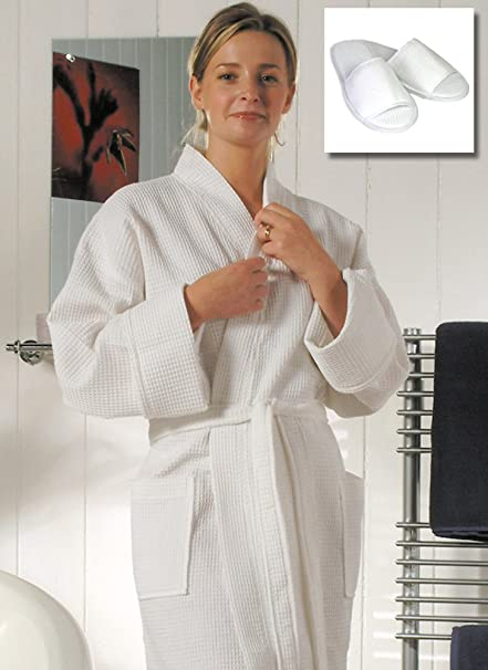 1db2ade754 Towelsrus Spa Waffle Kimono Bathrobe and Slippers Medium White 100% Cotton  Open Toe Waffle Slippers  Amazon.co.uk  Kitchen   Home