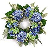 Melrose International Blue Hydrangea Wreath, 25""