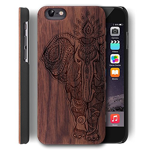 Wood Cover for iPhone 5/5S/SE Wooden Case - YUANQIAN [Laser Printing] Slim Genuine Wood Backplate Case for Apple iPhone 5/5S/SE [4.0 inch](Elephant-2) (Iphone 5s Case Elephant Wood)
