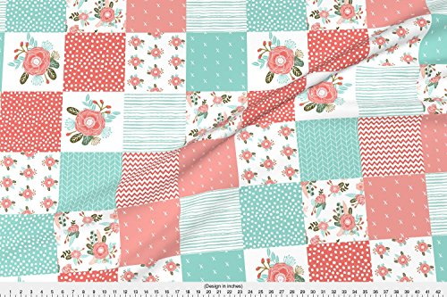 Blossoms Fabric - Squares Cute Cheater Quilt Fabric Girls Sweet Floral Blanket Fabric Wholecloth Girls by charlottewinter - Printed on Basic Cotton Ultra Fabric by the Yard