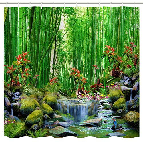 BROSHAN Green Bamboo Decor Shower Curtain Fabric, Summer Outdoor Forest Jungle Waterfall Rock Nature Scenery Bath Curtain Art Printing, Landscape Waterproof Bathroom Accessories Set,72x72 Inch, Brown