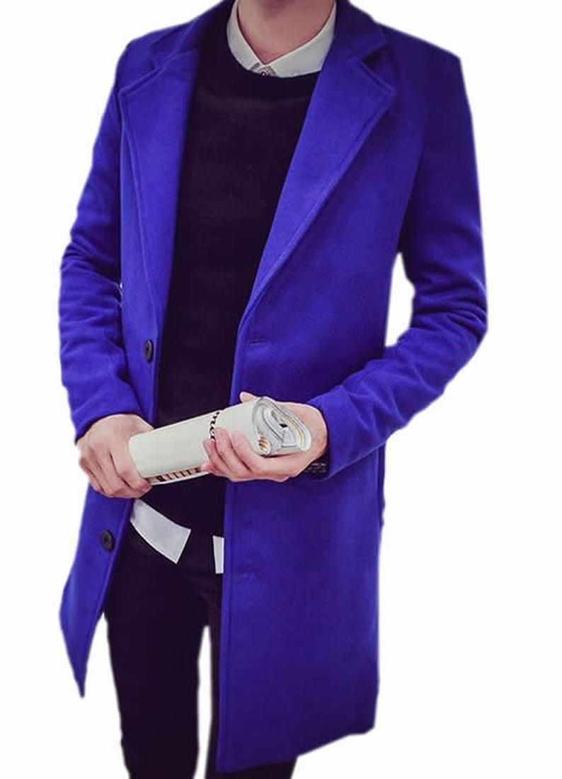 Papijam Men's Leisure Sliod Thicken Long Pea Coat Jewelry Blue XL