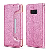 UEEBAI Case for Galaxy S7 Edge,Luxury Bling Glitter Case [Big Magnetic Buckle] [Card Slots] Stand Funtion [Support Wireless Charging] PU Leather Flip Wallet Cover for Samsung Galaxy S7 Edge - Pink