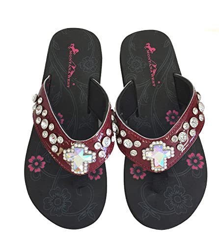 9c2b545bfa6a97 Montana West Women Flip Flops Shiny Western Bling Sandals Crystal Cross  Burgundy