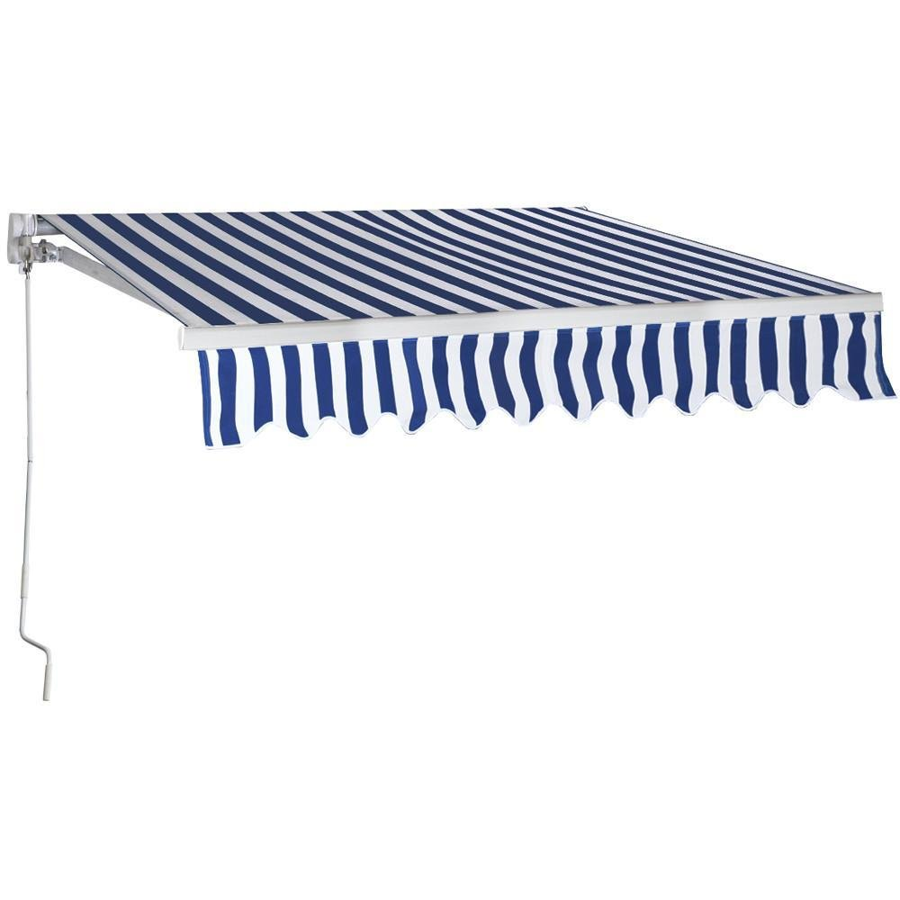 Yaheetech Aluminum Patio Manual Retractable Sun Shade Awning Sunshade Shelter Window Awning Sun Rain Shade Cover Outdoor Blue 8.2L x 6.5W ft