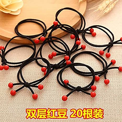 rubber band hair ring elastic rope ponytail holder hair band korean woman gift black tie hair rubber band headdress bow hair rope cartoon (red HJPRT