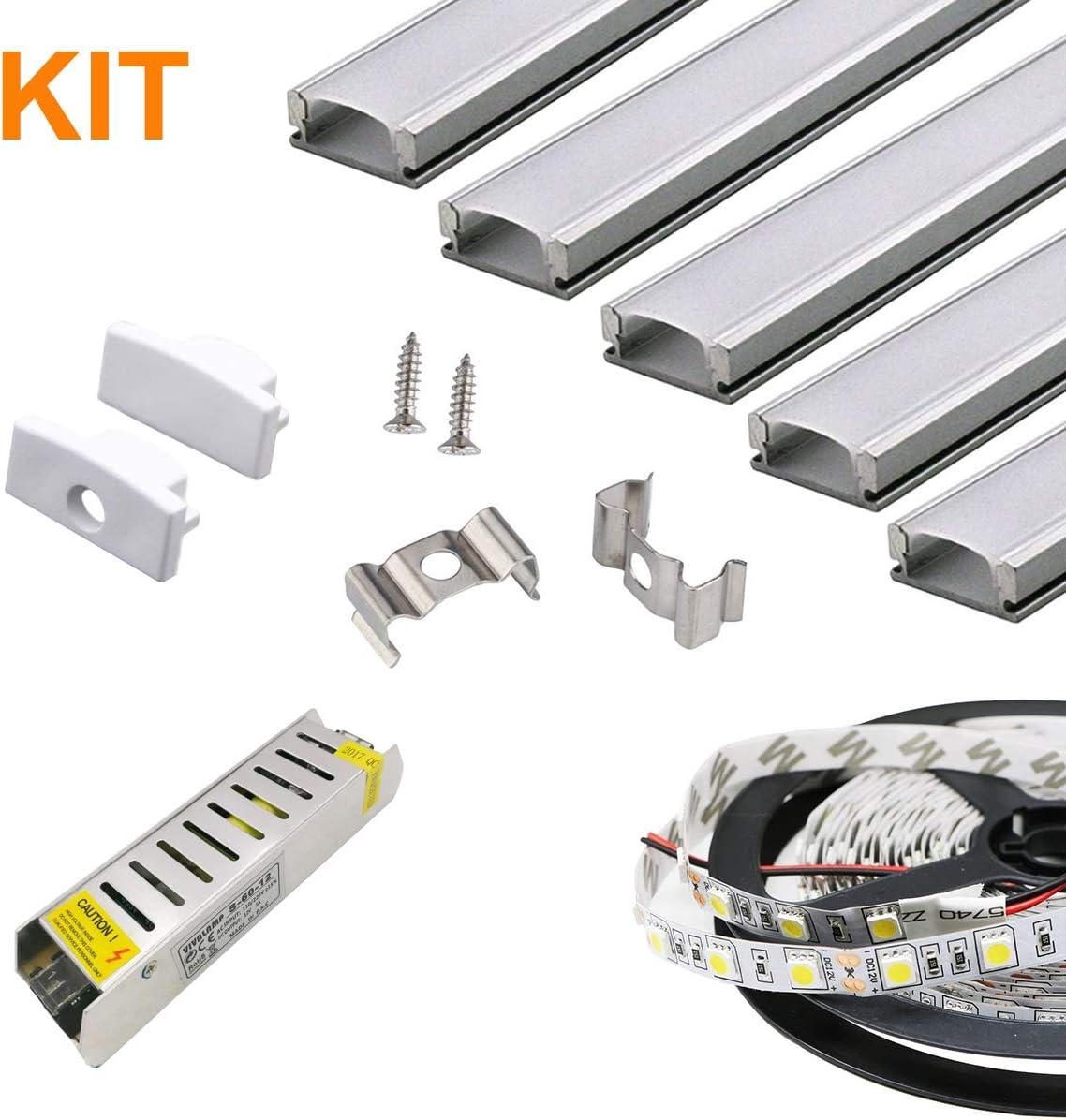 490114 Striscia Led 5050 da 5MT 6400K Luce Fredda Kit 5pz Profili Lineari in Alluminio da 1MT con 10 Tappi 10 Staffe di Fissaggio Trasformatore 5A 12V LineteckLED