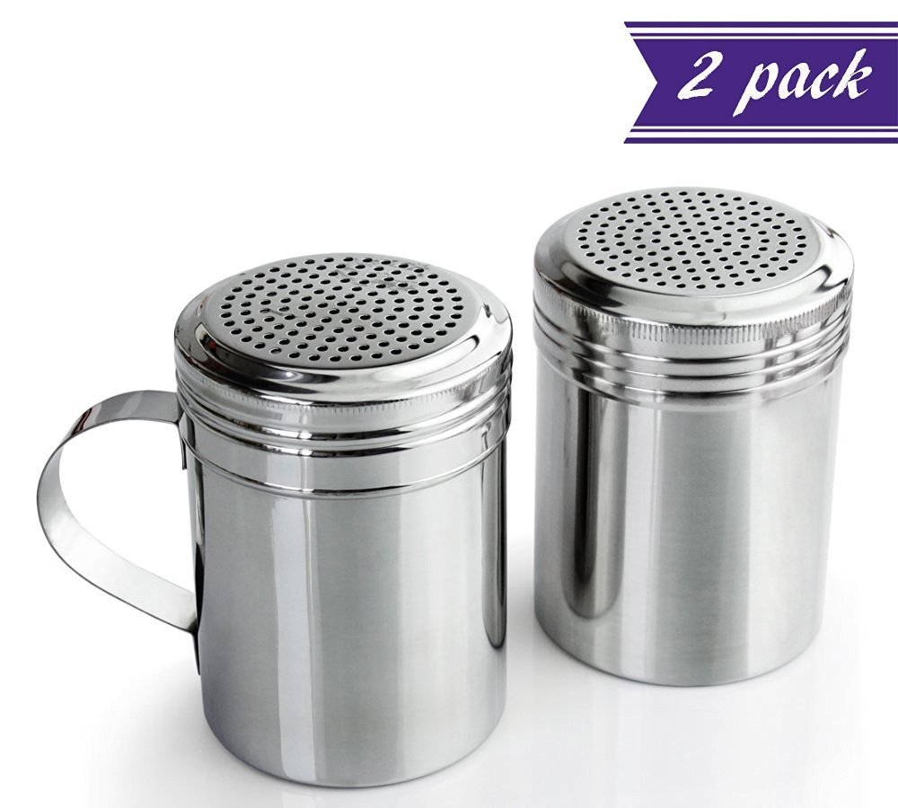 (2 Pack) 10 Oz Dredge Shaker with Handle, Stainless Steel, Commercial Grade Versatile Salt Pepper Spices Sugar Dispenser for Dry Goods w/ handle 10 ounce