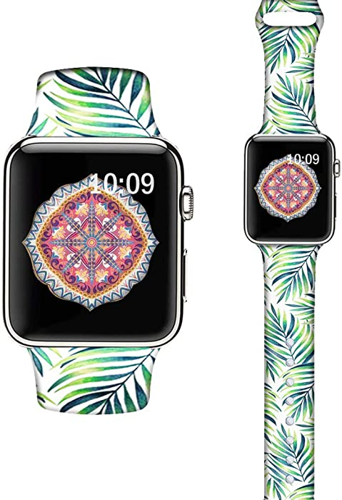 LAACO Silicone Sport Bands Compatible with Apple Watch 40mm for Women, Floral Sport Band, Tropical Leaves Fadeless Pattern Printed Replacement Strap Bands Compatible with iWatch 38mm Series 5 4 3 2 1