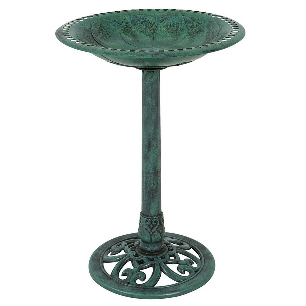 Pedestal Bird Bath Bowl Backyard Ornaments Feeder Planter Lightweight Durable Resin Antique Verdigris Decor for Gadren Patio Enjoy The Company of Birds Perfect for Smaller Birds & eBook by BADAshop