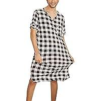Verano Camison Hombre Dormir Manga Corta,Pijama de una Pieza para Hombre con Estampado de Cuadros Casual Suelto,Camisa…
