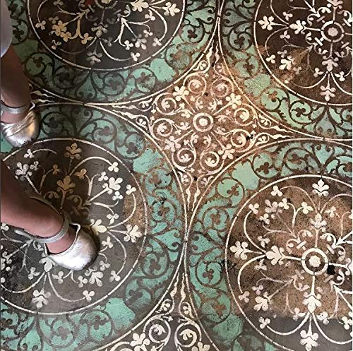 Large Tile Stencil for Painting Wall Pattern or Custom Floor Pattern - Circle Tile Stencils - Classic Floor Stencils - Boho Glam Wallpaper Wall - Studios Stencil