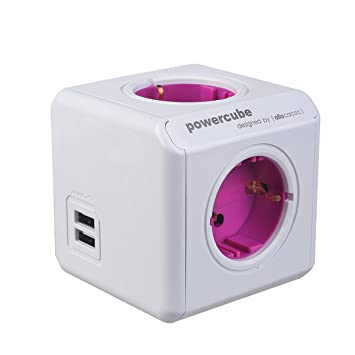 Allocacoc PowerCube 1810/Port DERU4P 4-Cubo cuadrado de toma, 4 x 6,35 mm, ...