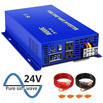 XYZ INVT 3000W Pure Sine Wave Power Inverter 24V DC to 120V AC with 2 AC Outlets 2 Sets of Battery Cables, Power Converter Generator for Home Solar System, RV, Camping.(3000W24V): Garden & Outdoor