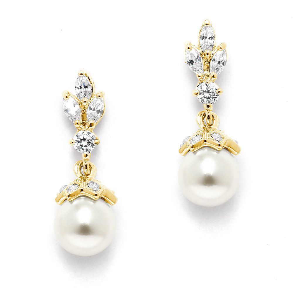 Mariell 14K Gold Plated Pearl Drop Wedding Earrings for Brides with Marquis CZ