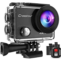 Crosstour Sports Action Camera 4K 20MP WiFi Vlogging Camera Underwater 40M with Remote Control IP68 Waterproof Case