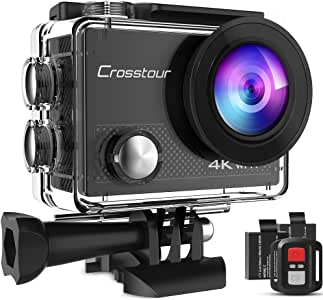 Crosstour Action Camera 4K 20MP WiFi Vlogging Camera Underwater 40M with Remote Control IP68 Waterproof Case