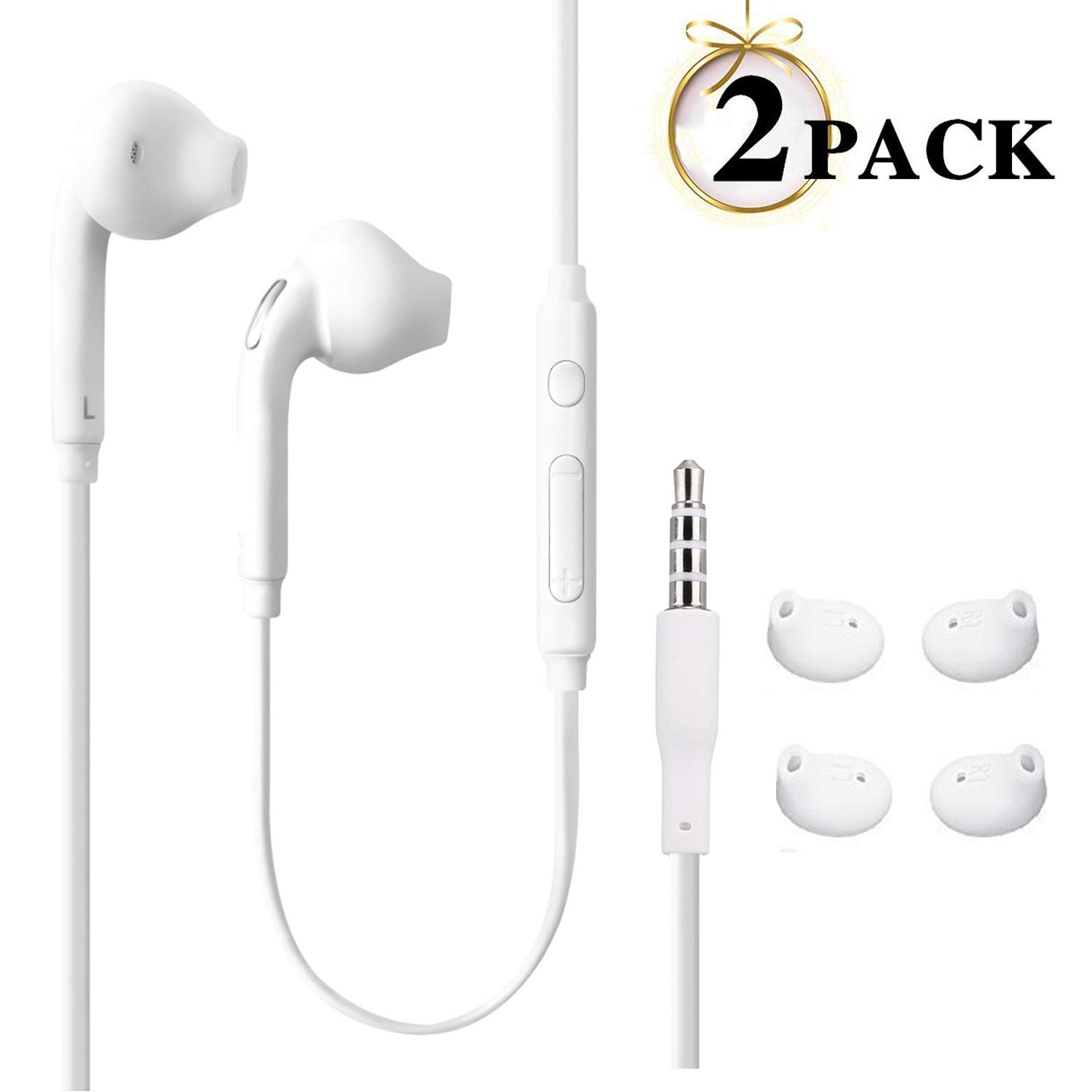 JUNAHAA 3.5mm Earphones Earbuds Headphones Stereo Mic Remote Control Compatible All Samsung Galaxy S6 Edge S6 Note 8 Note 9 S8 S8 S9 S9 Compatible iPhone 6 6plus 6S 6S Plus 5S 5c 2Pack