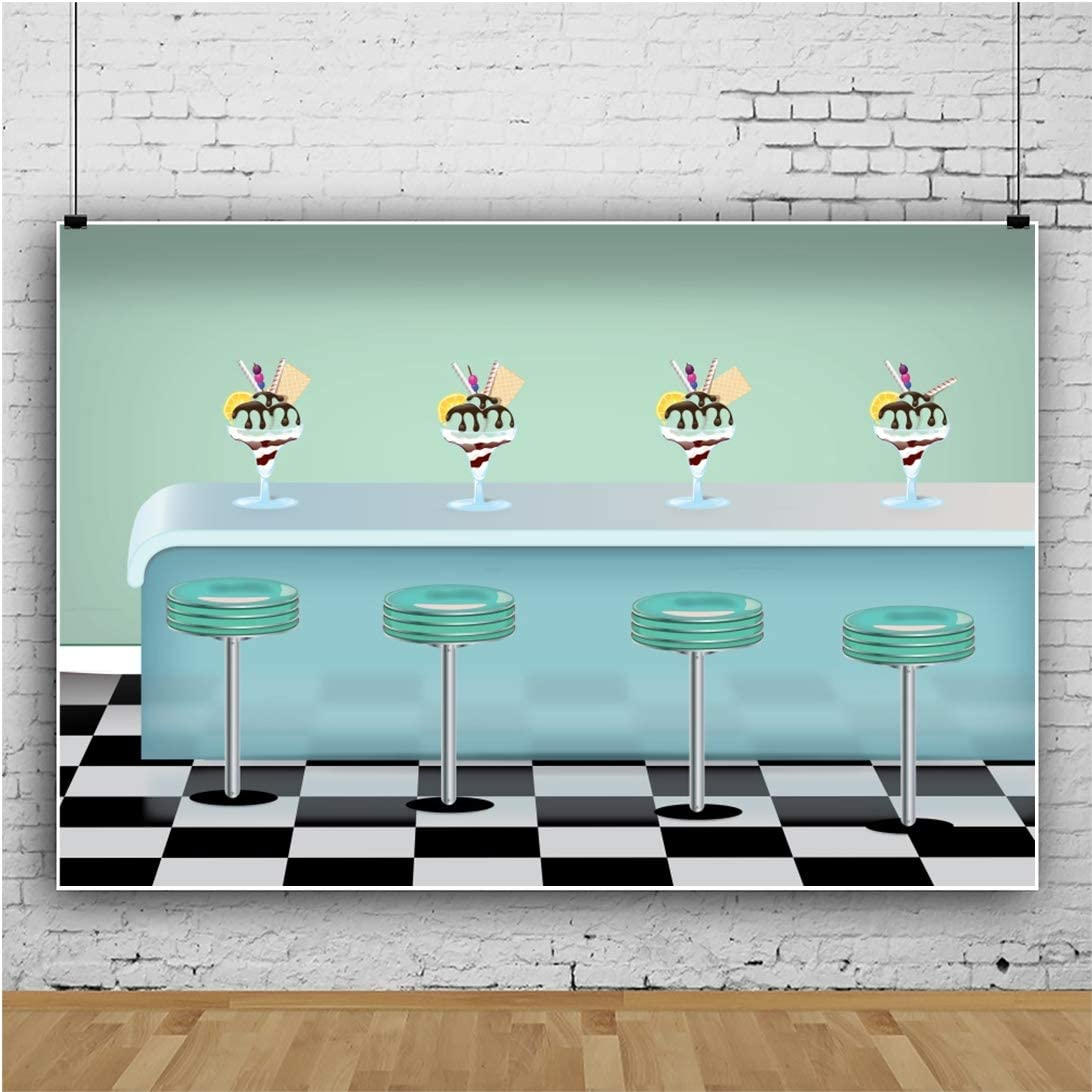 YEELE 10x8ft Cartoon Ice Cream Bar Photography Backdrop Kids Birthday Party Background Cake Smash Baby Shower Photos Party Table Prek Kids Acting Show Photo Booth Props Digital Wallpaper