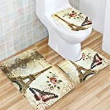 Bath Mat, Tezoo 3 Piece Flannel Bathroom Rug Set, Eiffel Tower Design  Shower Mat And Toilet Cover, Non Slip And Extra Soft Toilet Kit, Anti  Slippery Rug
