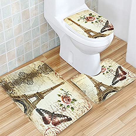 Bath Mat, Tezoo 3 Piece Flannel Bathroom Rug Set, Eiffel Tower Design  Shower Mat
