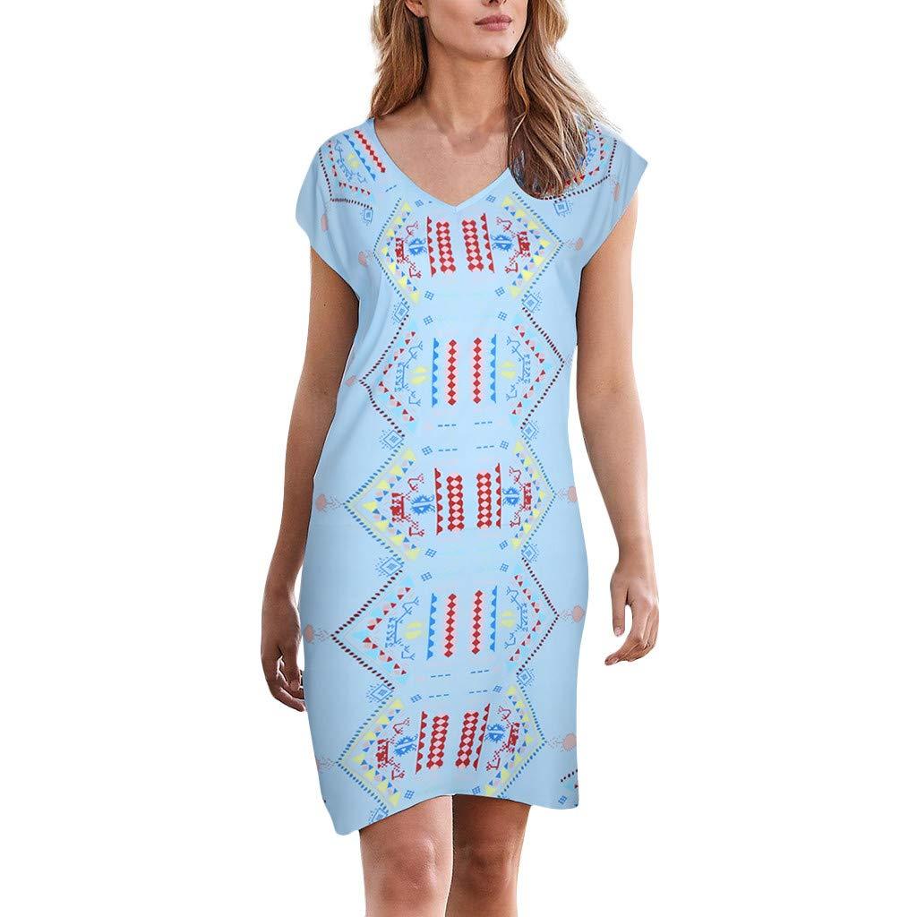 Women's Short Sleeve V-Neck Beach Flowers Dresses Evening Dress Knee-Length ❀Vine_MINMI❀ Retro Mini Dress T-Shirt Dress Light Blue by Vine_MINMI Dress