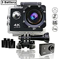 Action Camera, Vafru 4K Ultra HD WiFi 16MP Waterproof Cam 2' LCD 30m Underwater 170°Wide-angle Sports Camera with 3 Rechargeable 1050mAh Batteries and Mounting Accessory Kits