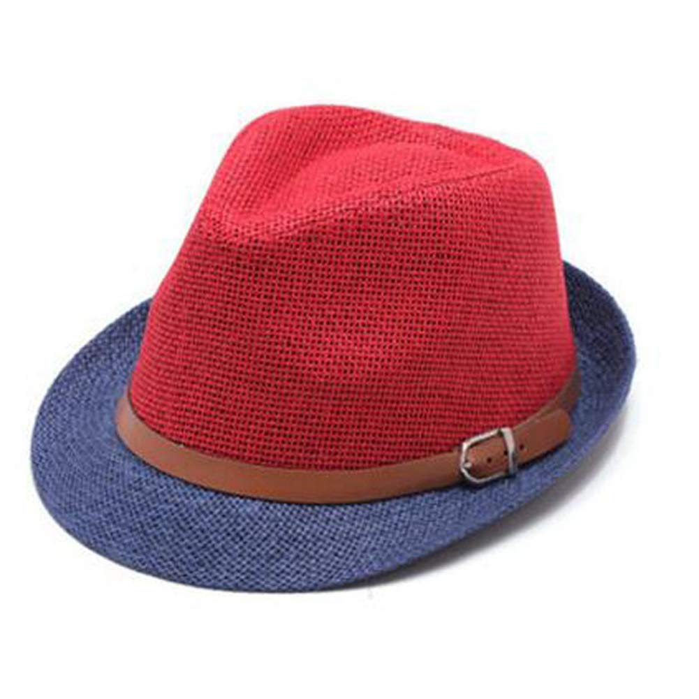 Unisex Roll Brim Panama Hat Buckle Belt Beach Sun Hat Patchwork Color Jazz Hat