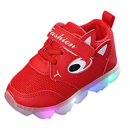 Fiaya Infant Toddler Girls Boys 4th of July Flag Cartoon LED Light Up Mesh Sneakers Luminous Breathable Sport Shoes (2 2.5 Years, Red Mesh)