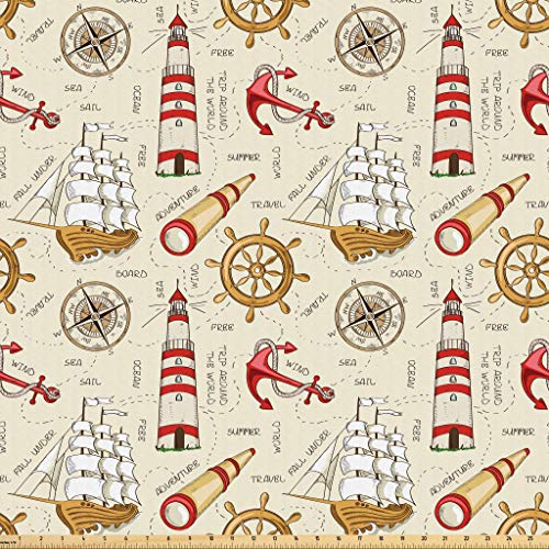 Lunarable Nautical Fabric by The Yard, Trip Around The World Pattern with Spyglass Old Fashioned Boat Windrose, Microfiber Fabric for Arts and Crafts Textiles & Decor, 2 Yards, Ivory Red Pale Coffee