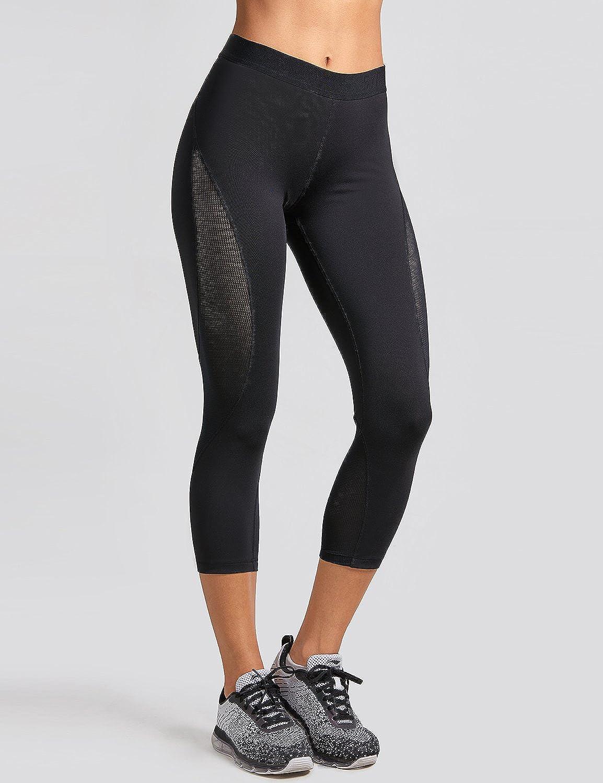 8a08a9865ad94 SYROKAN Women's Slimming Mesh Training Capri Leggings Sports Cropped Tights:  Amazon.co.uk: Clothing