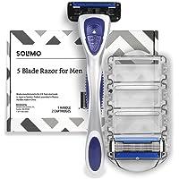 Amazon Brand – Solimo 5-Blade Razor for Men with Precision Beard Trimmer, Handle & 2 Refills