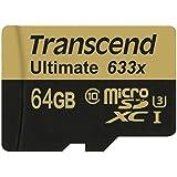 Transcend Ts64Gusdu3 Scheda Microsdxc 64Gb, Classe 10, 633X U3 con Adattatore Sd, Nero/Oro