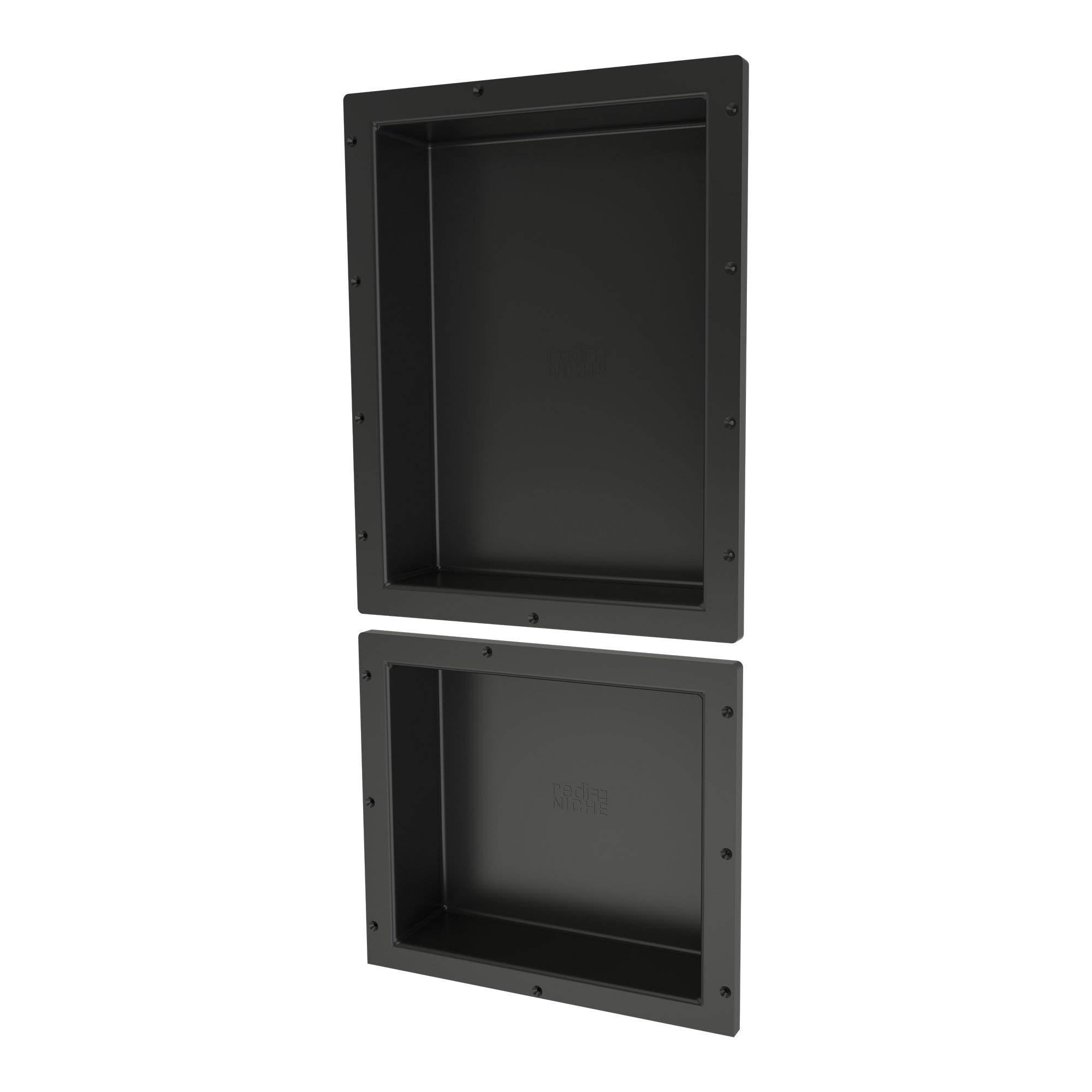 Tile Redi USA RND1620S-14 Shower Niche, 16''W x 34''H, Black