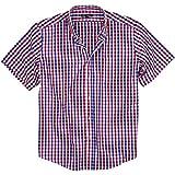 Urban Boundaries Men's 100% Cotton Plaid Short Sleeve Shirt (Red/White/Blue, Regular Fit: XX-Large)