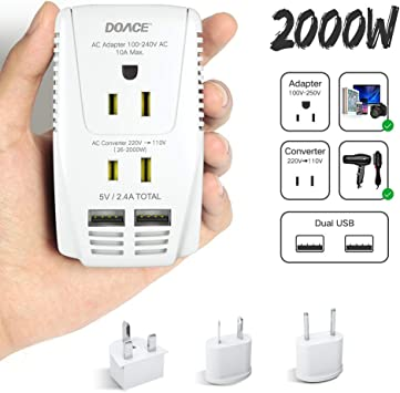 TryAce 2000W Voltage Converter Down 220V to 110V for Hair Dryer//Straightener New