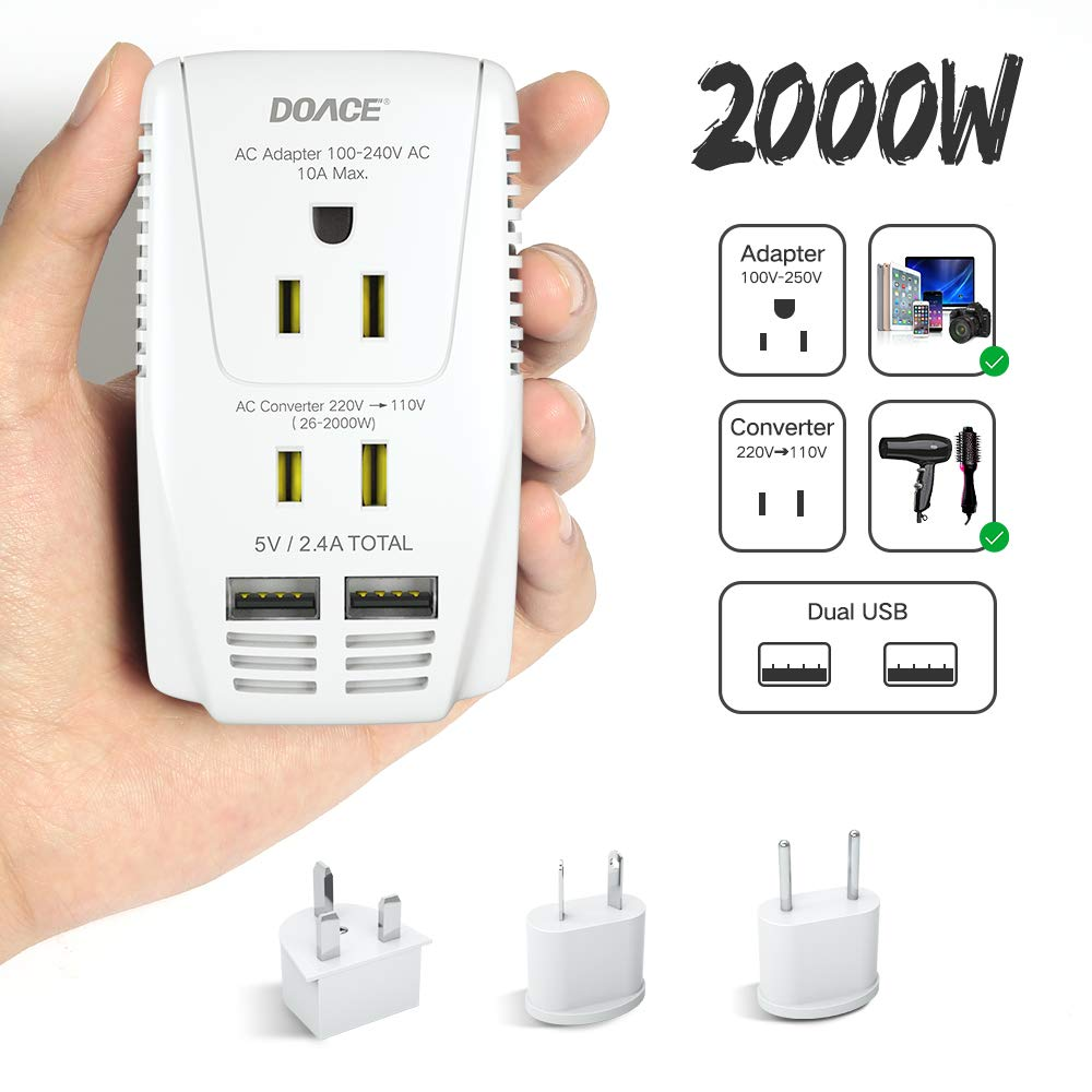 2019 Upgraded DOACE 2000W Travel Voltage Converter for Hair Dryer Straightener Flat Iron, Step Down 220V to 110V, 10A Power Adapter with 2-Port USB, EU/UK/AU/US Plugs for Laptop Camera Cell Phone