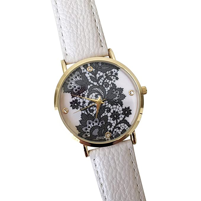 Amazon.com: Auntwhale Faux Leather Watches Women Lace Watches Fashion Round Quartz Wrist Watch Big Dial Watches White: Watches