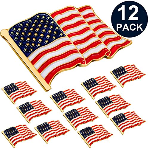 (SATINIOR 12 Pieces American Flag Lapel Pin Stars and Stripes Lapel Pin USA Brooch Flag Pins Patriotic Pins for Independence Day)