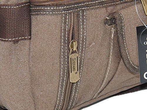 STEFANO Canvas Damentasche Vintage Herren Tasche Schultertasche Umhängetasche Handtasche Rucksack verschiedene Modelle M5 braun